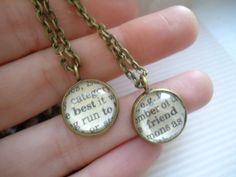 Custom Best Friends Necklace Set Personalized Word