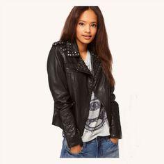 petite negro acolchado de motorista chaqueta de cuero con  tachuelas-spanish.alibaba.com 99990bddb783