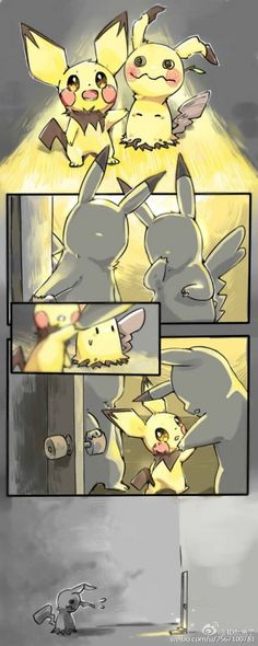 Mimikyu only wore the Pikachu costume so people would love him. Pokemon Mew, Pokemon Comics, Mega Pokemon, Pokemon Stuff, Pokemon Fusion, Sad Comics, Cute Comics, Photo Pokémon, Pokemon Pictures