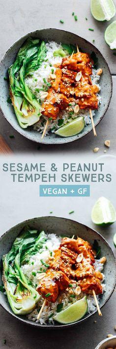 Sesame & Peanut Tempeh Skewers #plantbased #tempeh #vegan