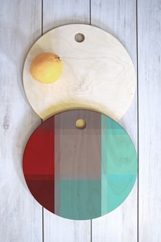 Madart Inc. Burgundy Tartan Cutting Board Round   DENY Designs Home Accessories