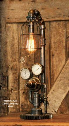 Steampunk Lamp Industrial Machine Age Steam Gauge Light Gear Table Desk
