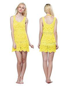 Modernes Damen Netzshirt Häkeln Look Gelb Strandkleid Bademode Sommer Bikini Größe S/M