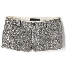 Glitter shorts, I'd pair it with a flowy blouse tucked in a bit