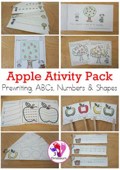 Apple Activity Pack: Prewriting, Shapes, ABCs & Numbers - a fun activity pack with 189 pages of printables with a mix of no-prep, easy reader books and clip cards for learning with an apple theme for kids to try out and learn with printables that all work together. - 3Dinosaurs.com #3dinosaurs #appleactivities #prewriting #abcs #alphabet #numbers #shapes #fallprintables #kindergarten #prek #preschool Abc Tracing, Tracing Shapes, Apple Activities, Activities For Kids, Printable Shapes, Shape Books, Apple Theme, Pre Writing, Free Coloring Pages