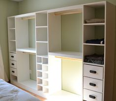 A slide in cubby divider for the Master Closet System. Fits shoes, handbags, and other small accessories. Uses scraps leftover from the Master Closet System - so you can build this for free! Ikea Closet, Closet Space, Closet Storage, Closet Organization, Closet Shelves, Organization Ideas, Bedroom Storage, Storage Ideas, Wall Storage