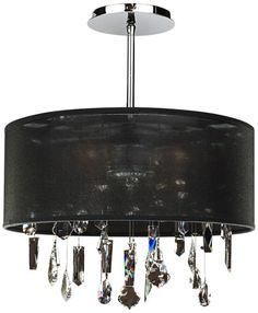Around Town Crystal and Black 15-Inch-W Pendant Chandelier - #EUU5476 - Euro Style Lighting