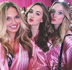 Romee Strijd, Sanne Vloet and Maud Welzen backstage at the VS Victoria's Secret Fashion Show vsfs 2015 - december/ in NYC