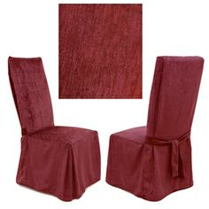 Chenille Cranberry dining chair cover is absolutely stunning. Offers best of two worlds luxurious feel and durability. This incredibly rich and durable dining chair cover compliments a variety of decorating styles.