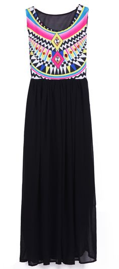 Black Sleeveless Geometric Tribal Print Chiffon Dress - only $22
