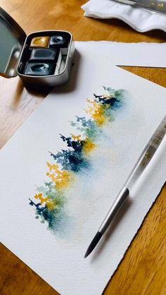 Watercolor Beginner, Watercolor Art Lessons, Watercolor Paintings For Beginners, Watercolor Projects, Watercolor Landscape Paintings, Watercolor Trees, Easy Watercolor, Watercolor Techniques, Watercolor Books