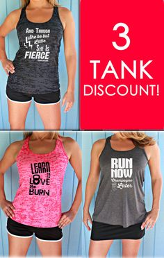 Three Tank Discount. Burnout or Flowy Workout Tank Tops. Workout Gym Tank. Running Tank Top. Inspirational Quote. Womens Workout Clothes. #etsy  #etsyretwt