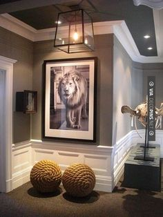 Neat - Grey walls and ceiling with white molding and black and white art - designed by Nicole Hollis | CHECK OUT MORE CROWN MOLDING AND DIY CROWN MOLDING IDEAS AT DECOPINS.COM | #crown molding #crownmolding #diycrownmolding #trim #ceiling #homedecor #homedecoration #decor #livingroom