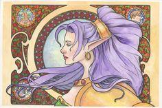 Nastajia Ashenheart Art Nouveau Watercolor... by *ssava on deviantART