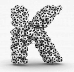 Picture of Letter K from soccer football balls isolated on white background stock photo, images and stock photography. Making The Team, Birthday Letters, Picture Letters, Football Field, Team Player, Banner Printing, Things That Bounce, Soccer, Creative