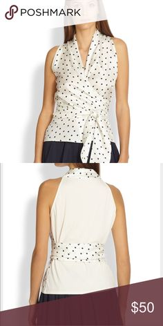 Max Mara silk polka dot wrap top Retail $300+ such an adorable top - true wrap style. Excellent condition. Size in blouse is 42. Silk MaxMara Tops