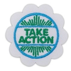 New Daisy Take Action Award Badge #69113 $3.00 Iron-on. Twill with embroidery. Made in USA.  Girl Scout badges, awards, and other insignia that are earned for the accomplishment of skill building activities or any set requirements should be presented, worn, or displayed only after Girl Scouts have completed the requirements outlined in the appropriate program materials.