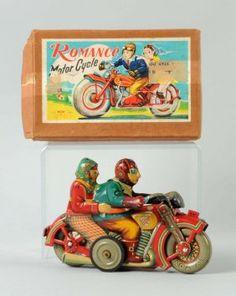 Very Rare Japanese Tin Litho Romance Motorcycle.