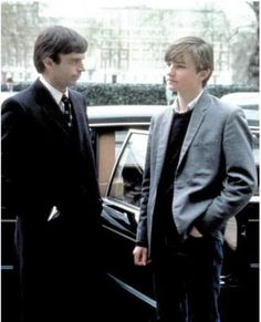 """Jonathan Scott-Taylor with Sam Neill at the premiere of """"Omen III:The Final Conflict"""" 1981. So wonderful to see them together !"""