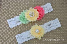 Wedding garter belt Bridal Garter Set Pale Yellow garters Coral Garter Mint…