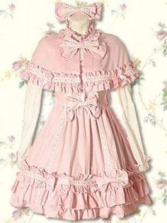 Cotton Pink Cape Sweet Lolita Dress, ocrun.com