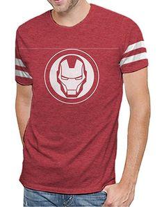 Marvel Comics Avengers Age of Ultron Iron Man Varsity Logo Mens T-shirt L