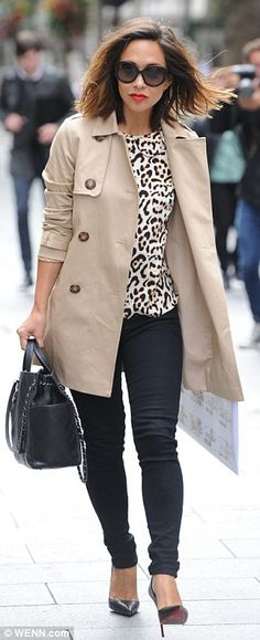 Myleene Klass cuts a classy figure in sophisticated trench coat