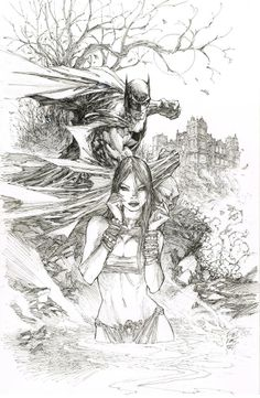 A Dip in the Pool - Batman & Talia by Marc Silvestri, in Yehoy Lee's Marc Silvestri Comic Art Gallery Room Comic Book Artists, Comic Book Characters, Comic Artist, Comic Character, Comic Books Art, Dc Comics Art, Marvel Comics, The Darkness, Al Ghul
