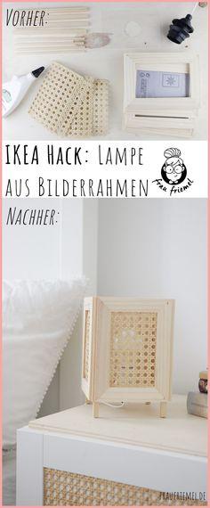 Einfacher IKEA Hack: DIY Lampe mit Wiener Geflecht einfach selber machen aus Bilderrahmen und Holz. Praktische DIY Ideen für die Wohnung entdecken und mit der selbstgemachten Lampe ein gemütliches Licht zaubern. Das Holz DIY ist auch für Anfänger gut umsetzbar - DIY Ideen für die Wohnung entdecken! Diy Hack, Table, Furniture, Home Decor, Simple, Homemade Lamps, Unfinished Wood, Timber Mouldings, Interior Design