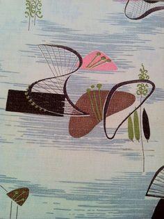 1950s Atomic Curtains  Vintage Barkcloth Drapes by ArtDecoDame, $59.00 Mid Century Modern Fabric, Mid Century Art, Mid Century Design, Vintage Textiles, Vintage Patterns, Vintage Prints, Textures Patterns, Fabric Patterns, Textile Design