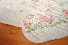 OBSESSED with this rag quilt from vintage sheets.