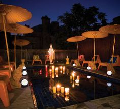 Floating LED lights on Pool - beautiful idea for cocktail parties and summer nights! For more info on LED lighting products, check out our wide range of LED lights on ledluxor.com! #LED #LEDoutdoors #LEDlights