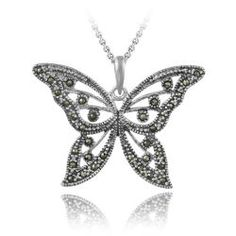 Sterling Silver Marcasite Butterfly Necklace overstock.com