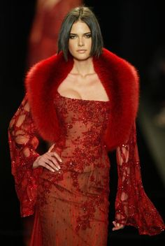 red lace & fur dress