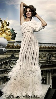 Zuhair Murad Winter 2009-2010 | editorial | off-white | one-shoulder dress with fringe embroidery