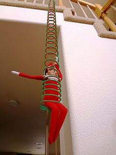 Elf on a Shelf - Slinky jumping I love Christmas .but, I just don't get it with the Elf on a shelf. All Things Christmas, Christmas Holidays, Christmas Crafts, Christmas Ideas, Funny Christmas, Merry Christmas, Elf On The Shelf, Shelf Elf, Elf On Shelf Funny