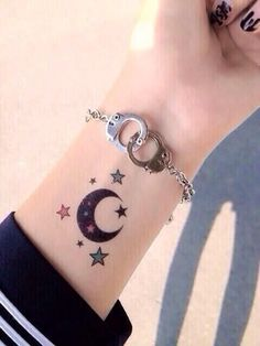 we would like to share 24 beautiful and Pretty Sun and Moon Tattoo Ideas To Copy This Summer. Not only do these tattoos look wonderful, but the sun and moon can even be symbols of the circle of life. Small Moon Tattoos, Sun Tattoos, Girly Tattoos, Time Tattoos, Wrist Tattoos, Pretty Tattoos, Unique Tattoos, Beautiful Tattoos, Cool Tattoos