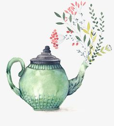 sticker by Sandra🌹BR💚💛. Discover all images by Sandra🌹BR💚💛. Tee Illustration, Tee Kunst, Tea Cup Art, Cute Teapot, Buch Design, Watercolor Paintings, Art Drawings, Hand Painted, Retro