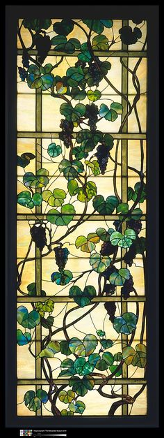 Grapevine Panel designed by Louis Comfort Tiffany, Tiffany Glass Studios, New York City, New York, American, leaded favrile glass, circa 1902-1915