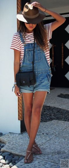10. #Overall Shorts - 23 Fun Ways to Wear #Denim This Summer ... → #Fashion…