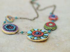 Mosaik-Halskette Mosaik Fliese Halskette Keramik von romyandclare