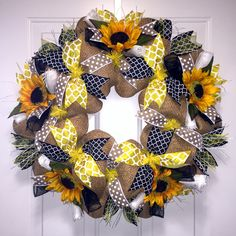New! Sunflower Yellow & Black Wreath is a classic French summer wreath.