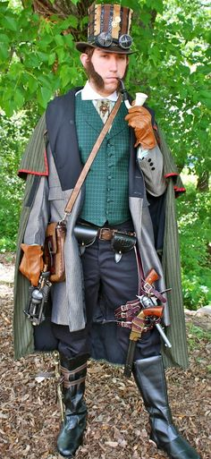Steampunk Gentlemens Victorian Attire, Steampunk Sherlock Holmes Victorian Period Costume, Steampunk Ideas for Mens Attire