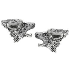 These cool sterling silver earrings by Journee Collection are studs that are in the shape of howling wolf heads. They have a textured metal detail and a lustrous shine that makes them pop. Butterfly clasps secured the stainless steel back to the ear.