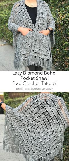 Crochet Shawl Free, Crochet Shawls And Wraps, Crochet Scarves, Crochet Stitches, Crochet Patterns, Knitting Patterns, Crochet Shrugs, Crochet Sweaters, Crochet Clothes