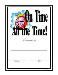 Free Certificate for Punctuality in Class. Perfect for elementary school