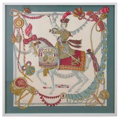 Hermes Silk Scarf, Festooned Horse and Rider, France, circa 1950   From a unique collection of antique and modern decorative art