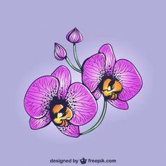 Disegno orchidee viola