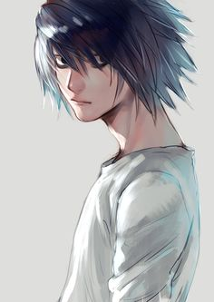 (notitle) - L Lawliet Death Note Fanart, L Death Note, Cute Anime Guys, Awesome Anime, L Icon, Death Note Cosplay, L Lawliet, Silver Surfer, Animation Film