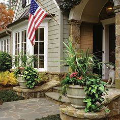 Trailing Algerian Ivy, Needle Palm, & Colorful Annuals - Spectacular Container Gardening Ideas - Southern Living